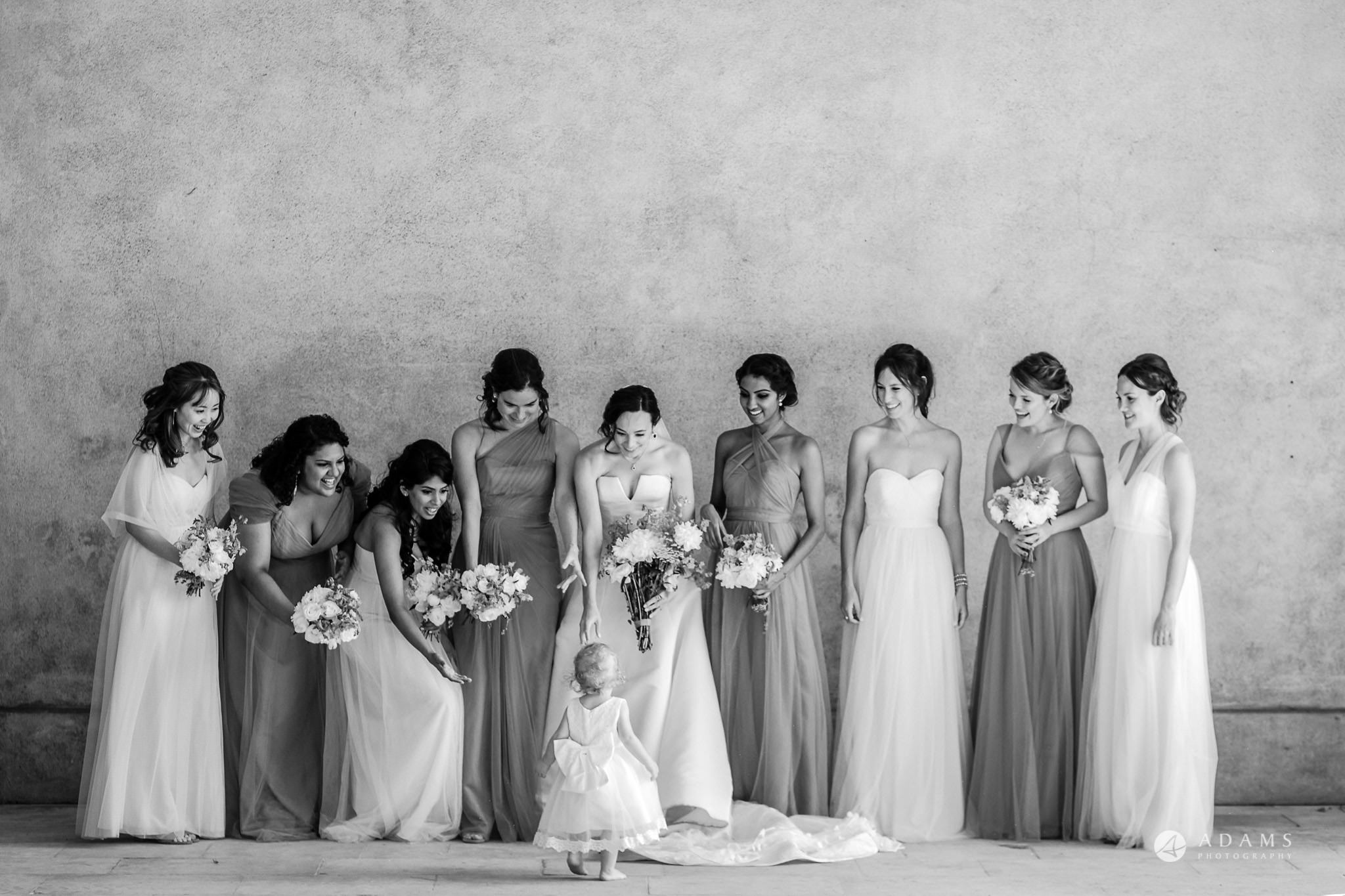 Trinity College Cambridge wedding bridal party portrait