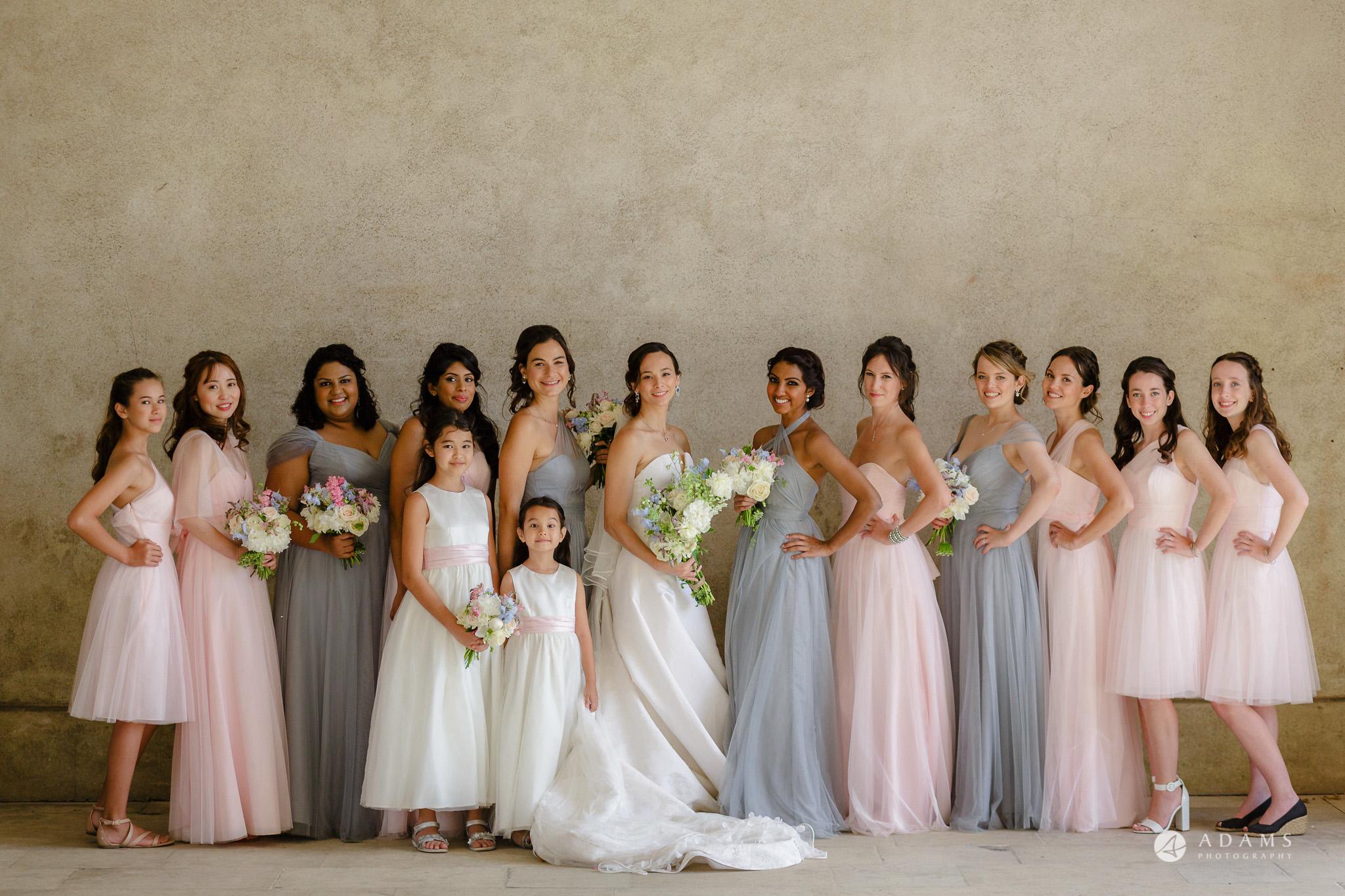 Trinity College Cambridge wedding bride and bridesmaids group photo