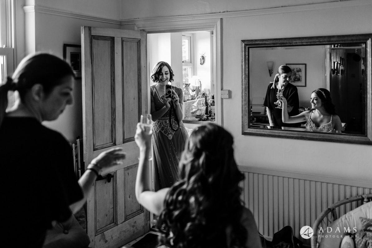 black and white wedding photos bride getting ready