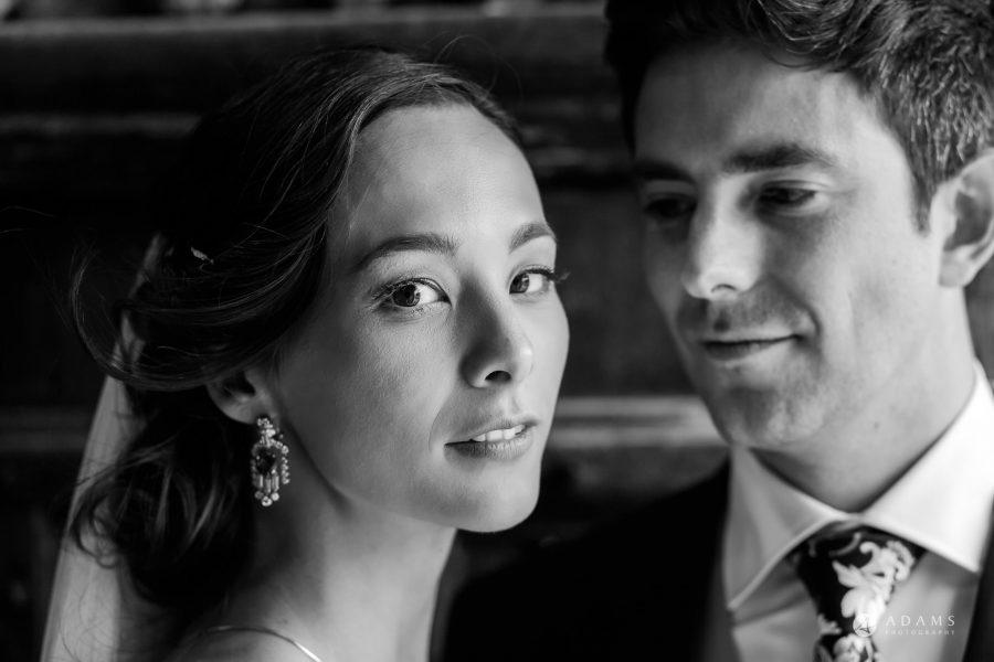 black and white wedding photographer couple portrait