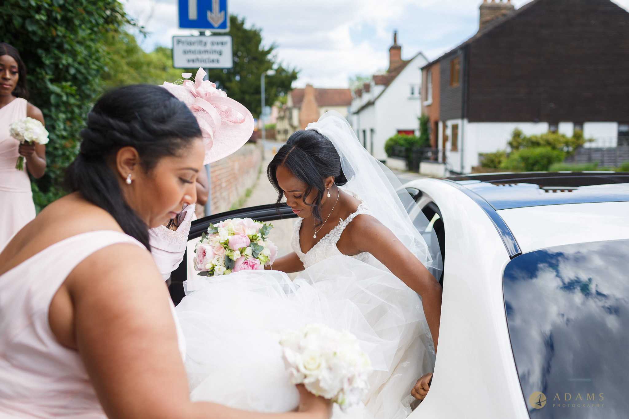 bride getting off the car