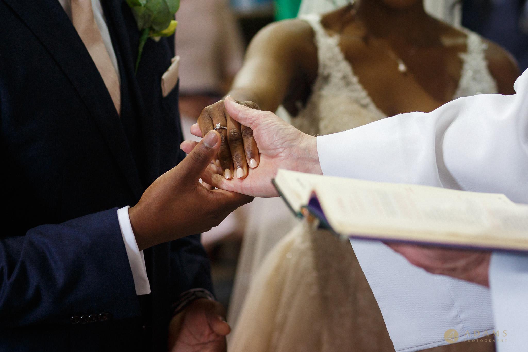handshake of the bride and groom