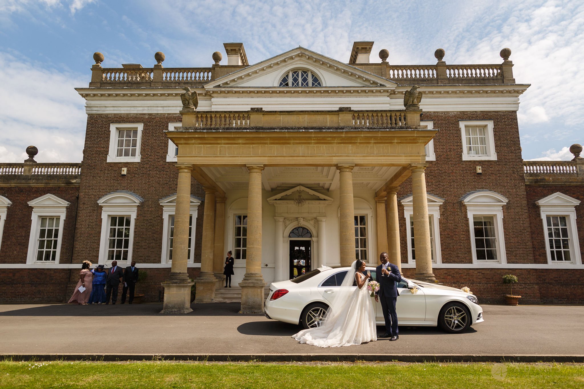 Boreham House wedding photographer bride and groom arrived to the venue