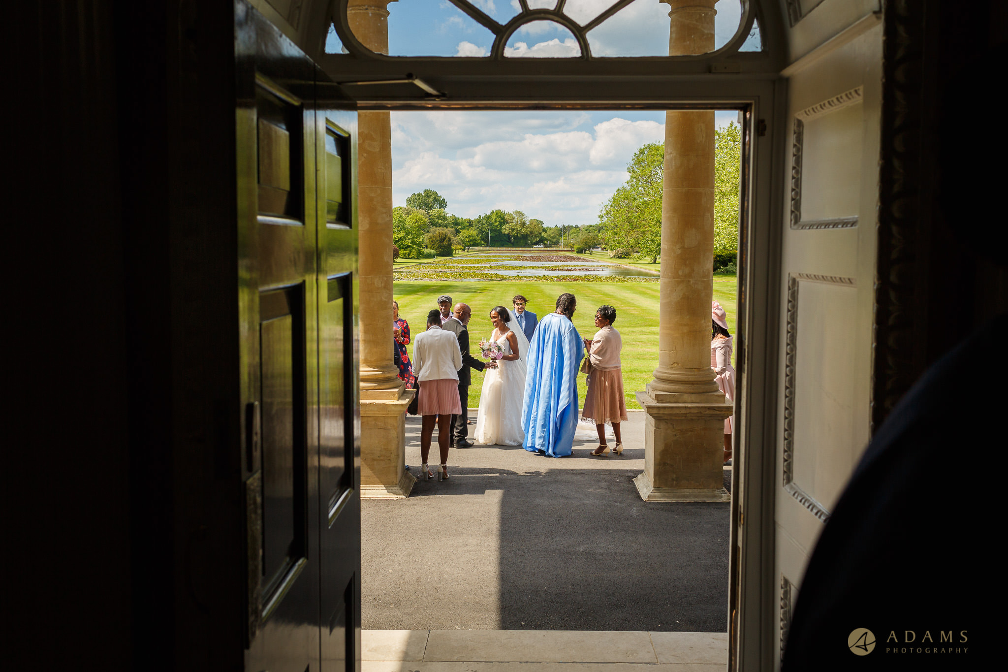 wedding guests in front of the Boreham House