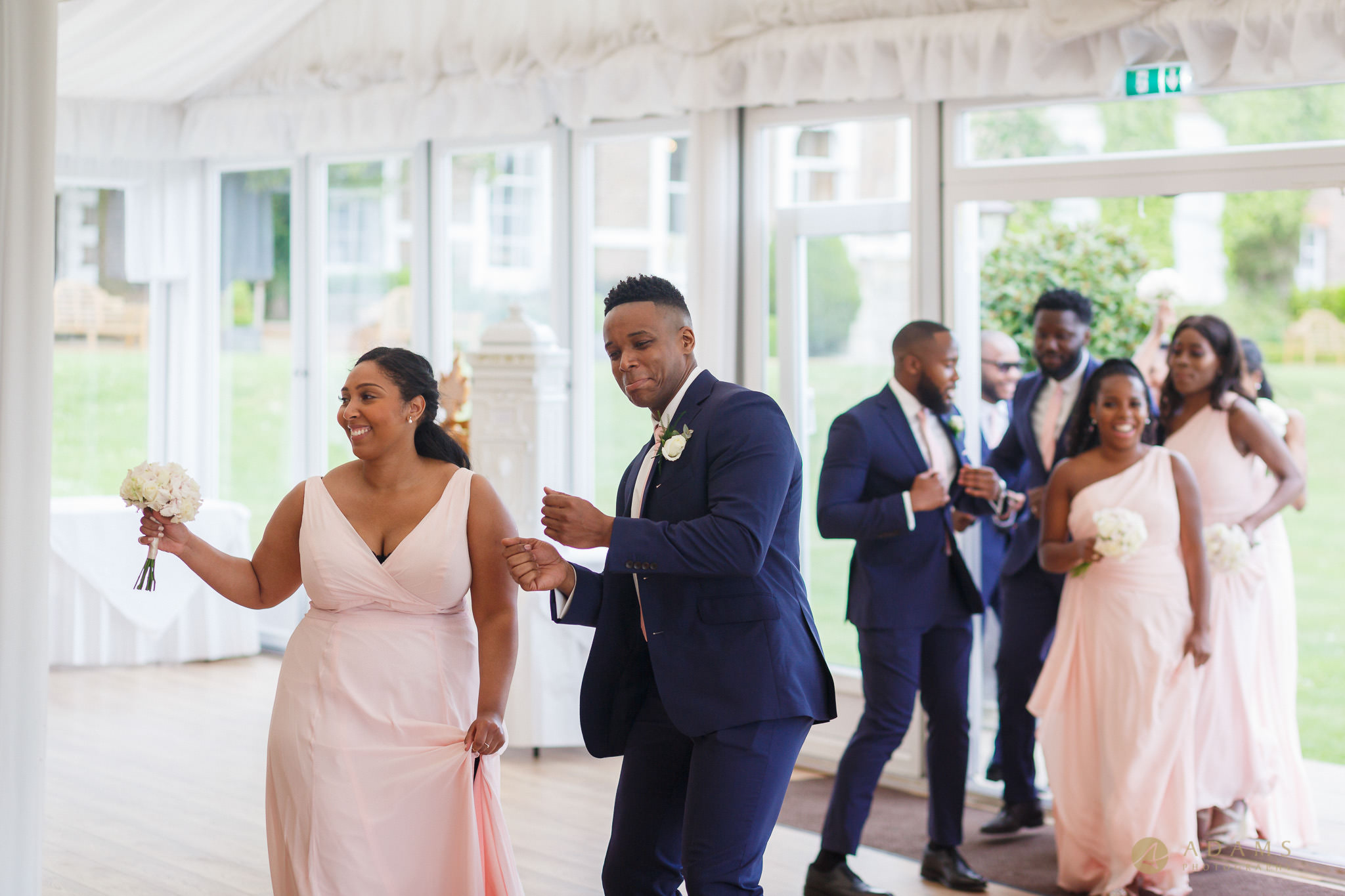 bridal party entrance and dancing