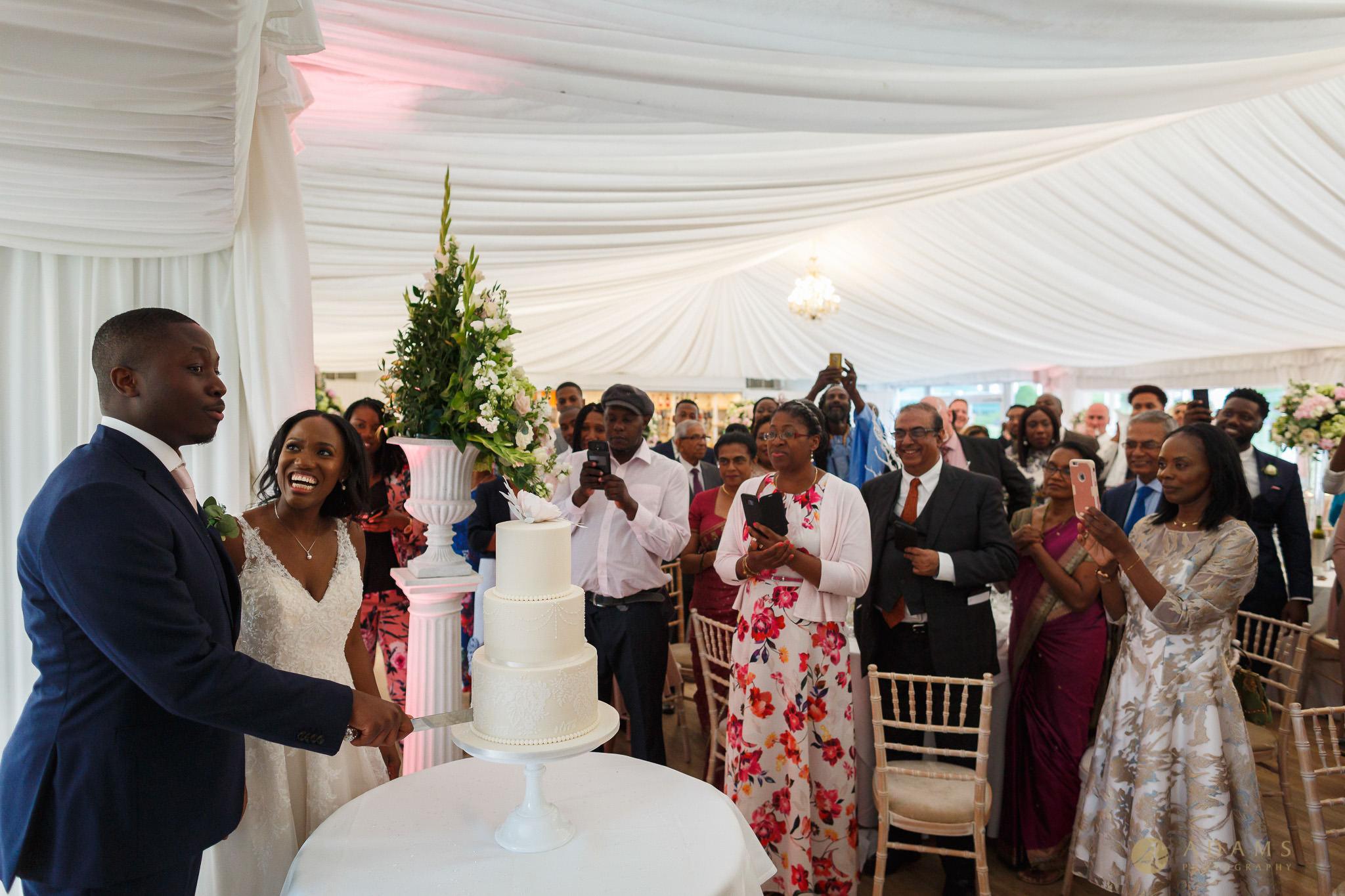 cake cutting at Boreham House wedding