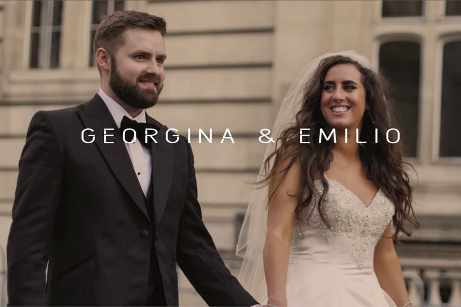 One Great George Street wedding video highlights couple walking outside of the venue