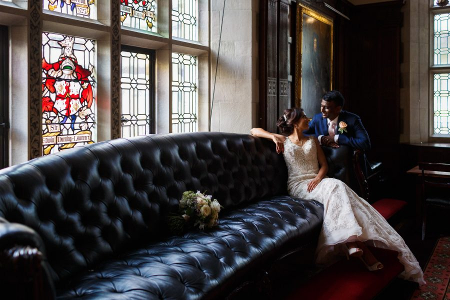 Asian Wedding Videographer London the couple walking and looking at each other