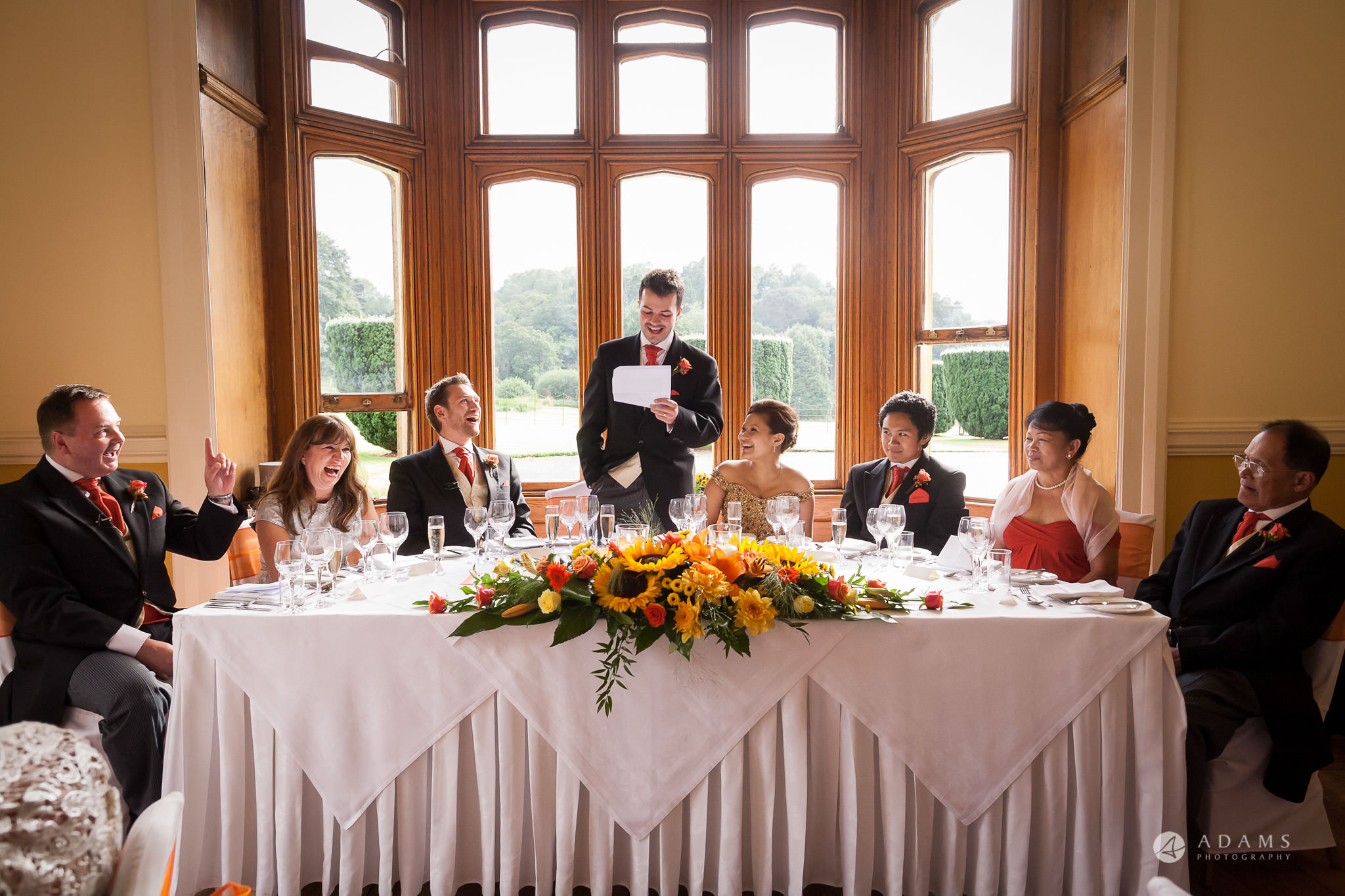 Somerset Wedding Videographer groom speech at the top table