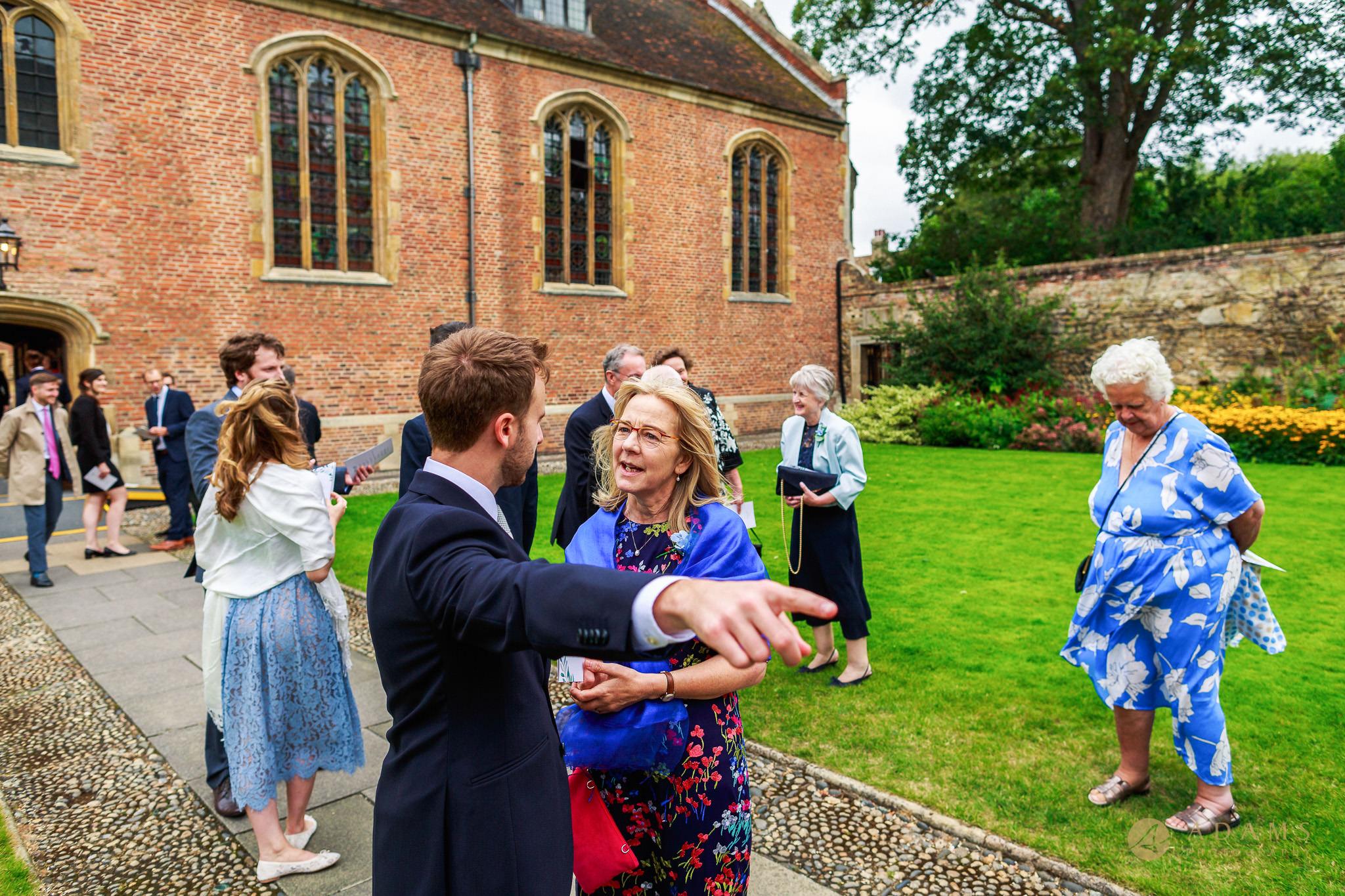 Wedding Photographer Cambridge before ceremony guest arrival