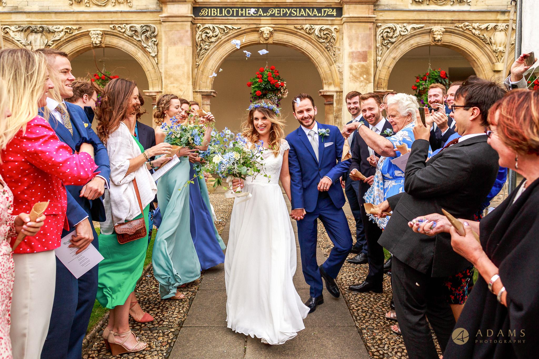 Wedding Photographer Cambridge confetti shot
