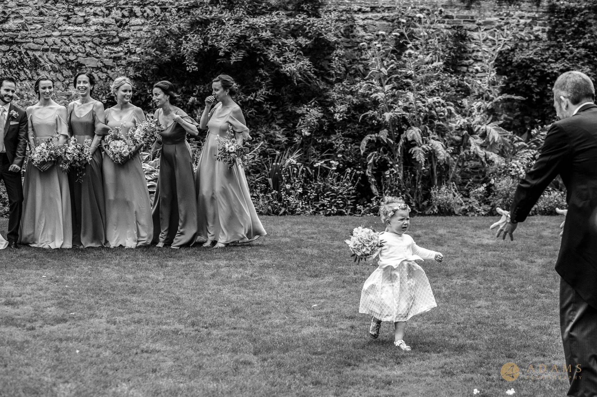 flower girl running away