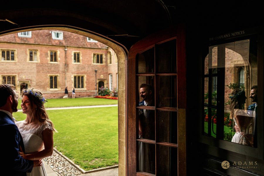 Cambridge Photographer couple portrait in the doorway