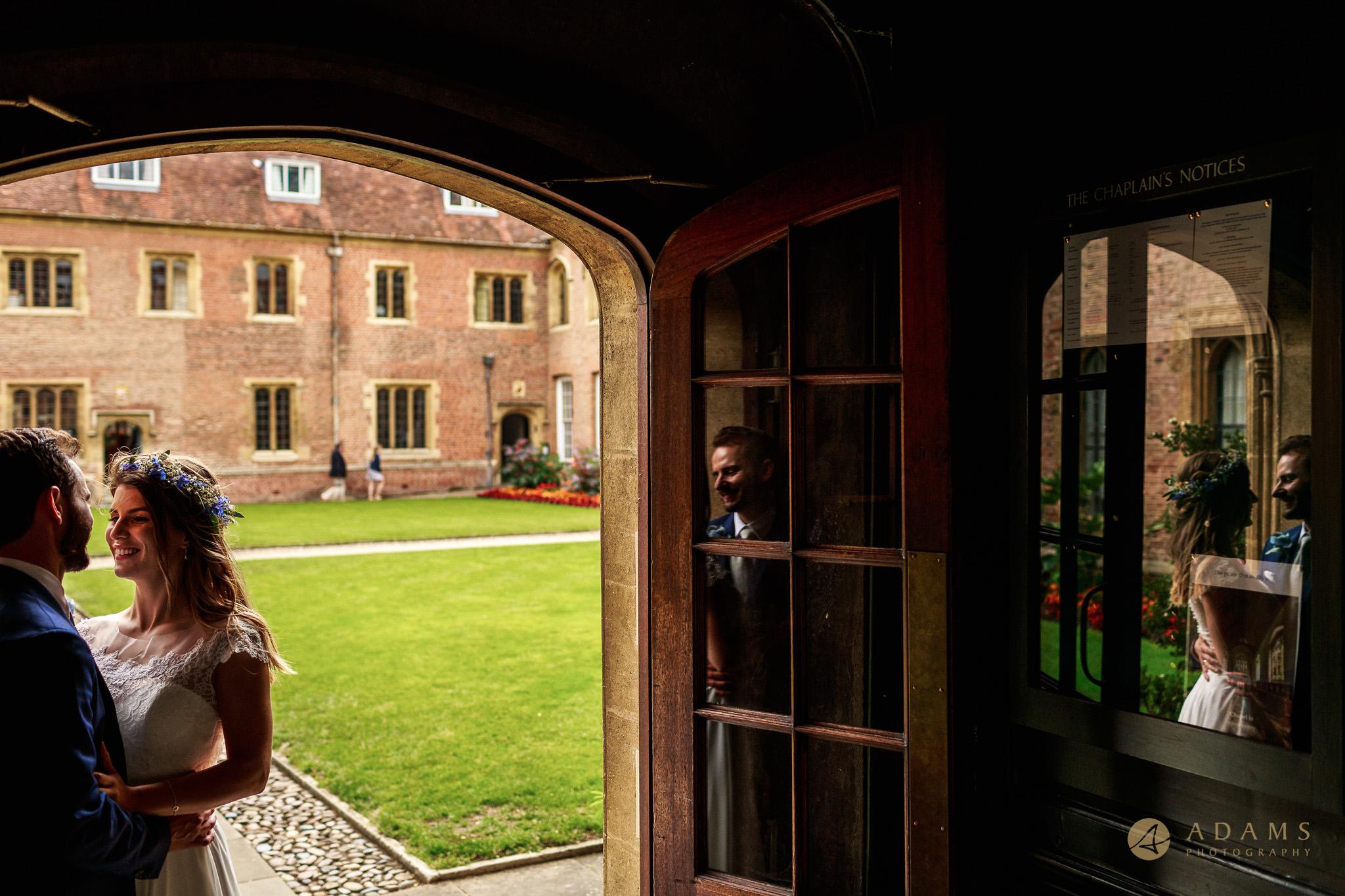 Cambridge Photographer couple portrait in the doorway