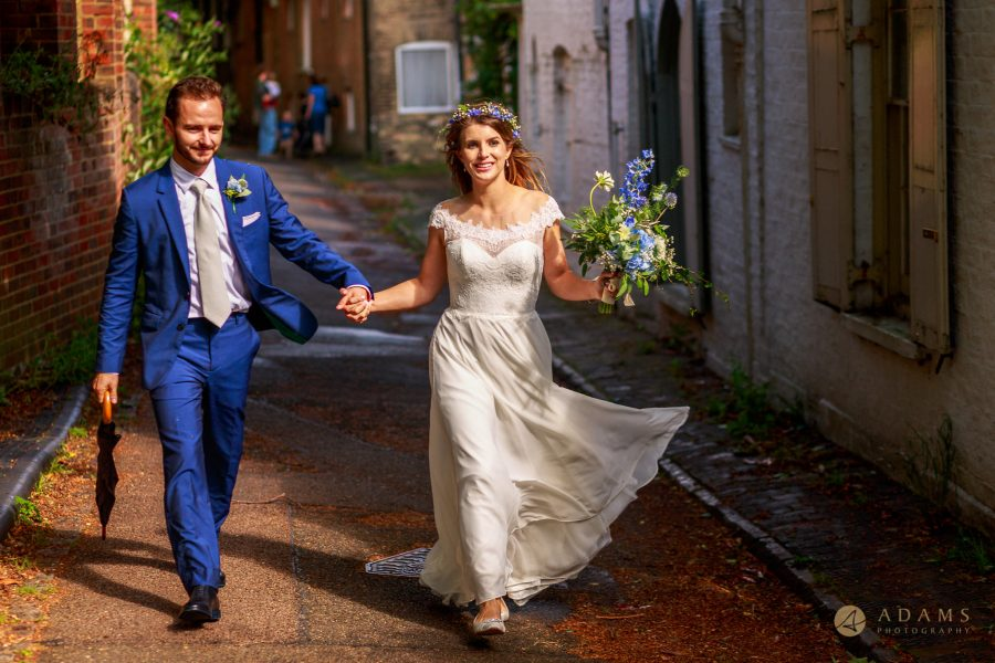 Cambridge Photographer bride and groom walking