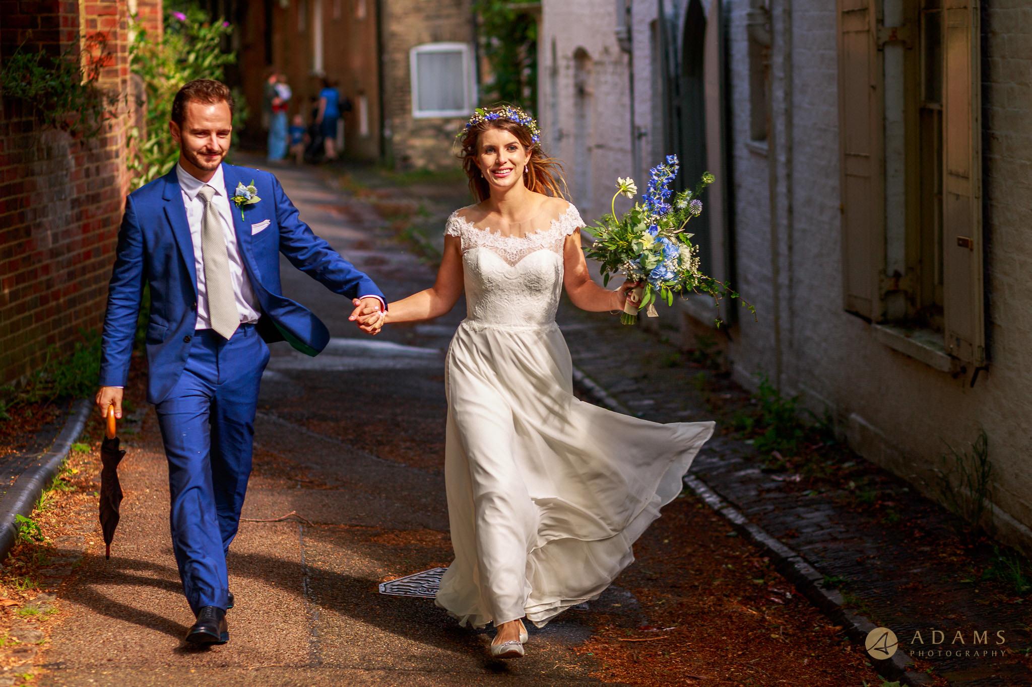 Cambridge Photographer bride and groom walking