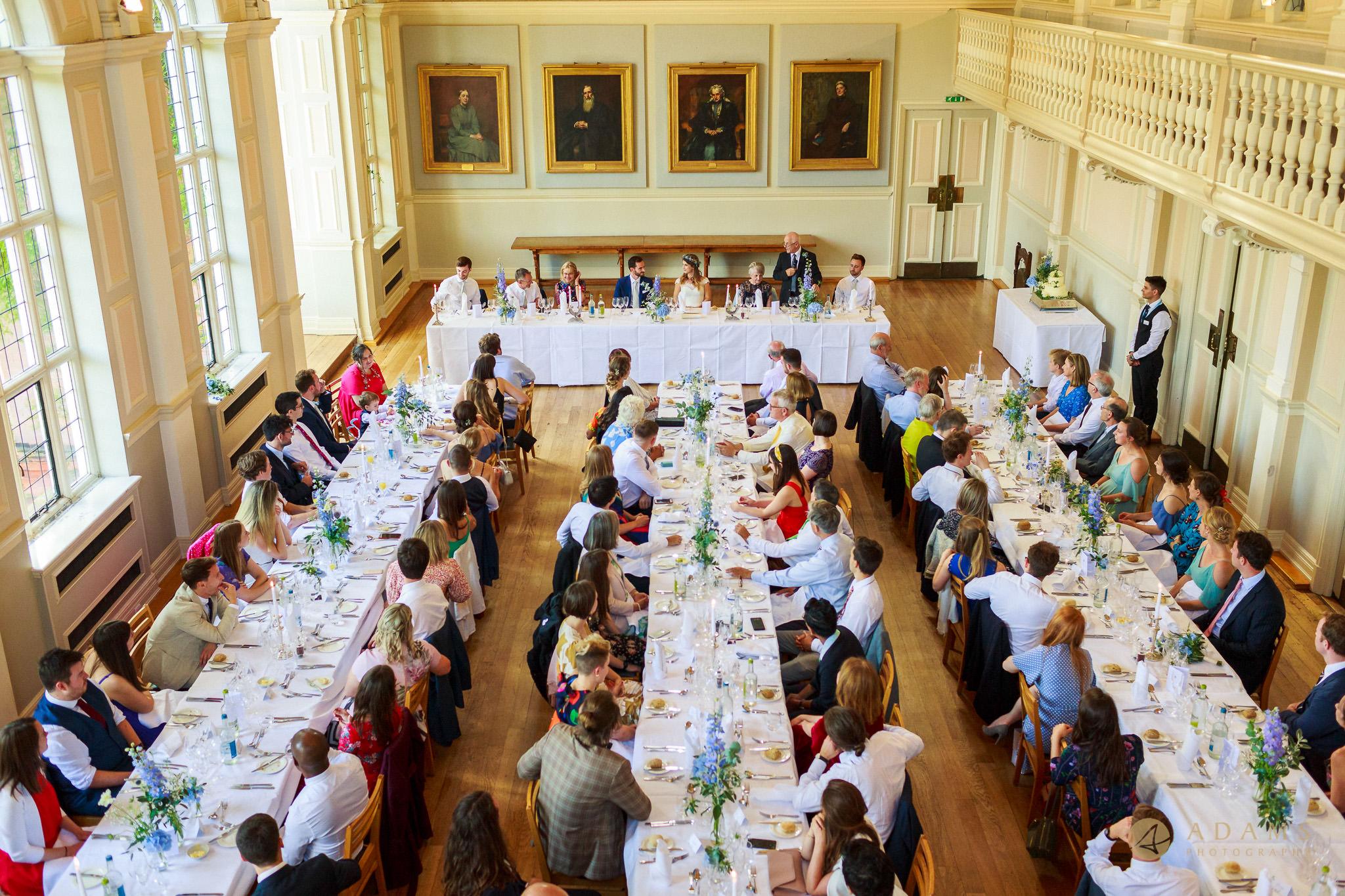 wedding breakfast at Newnham College in Cambridge