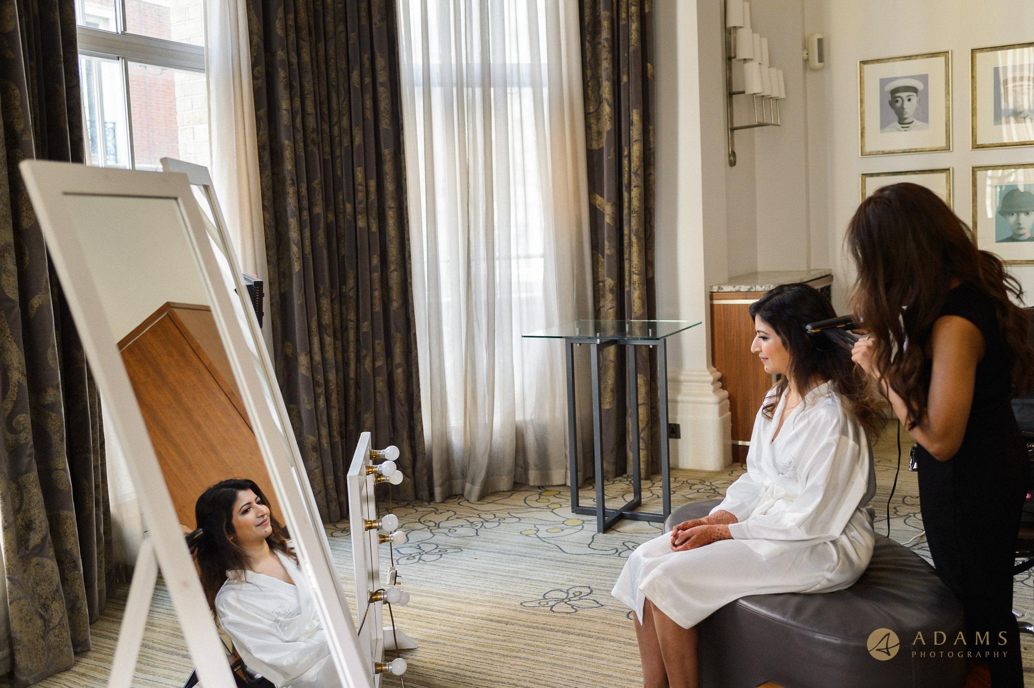 he Langham hotel London Wedding Photographer bride getting ready