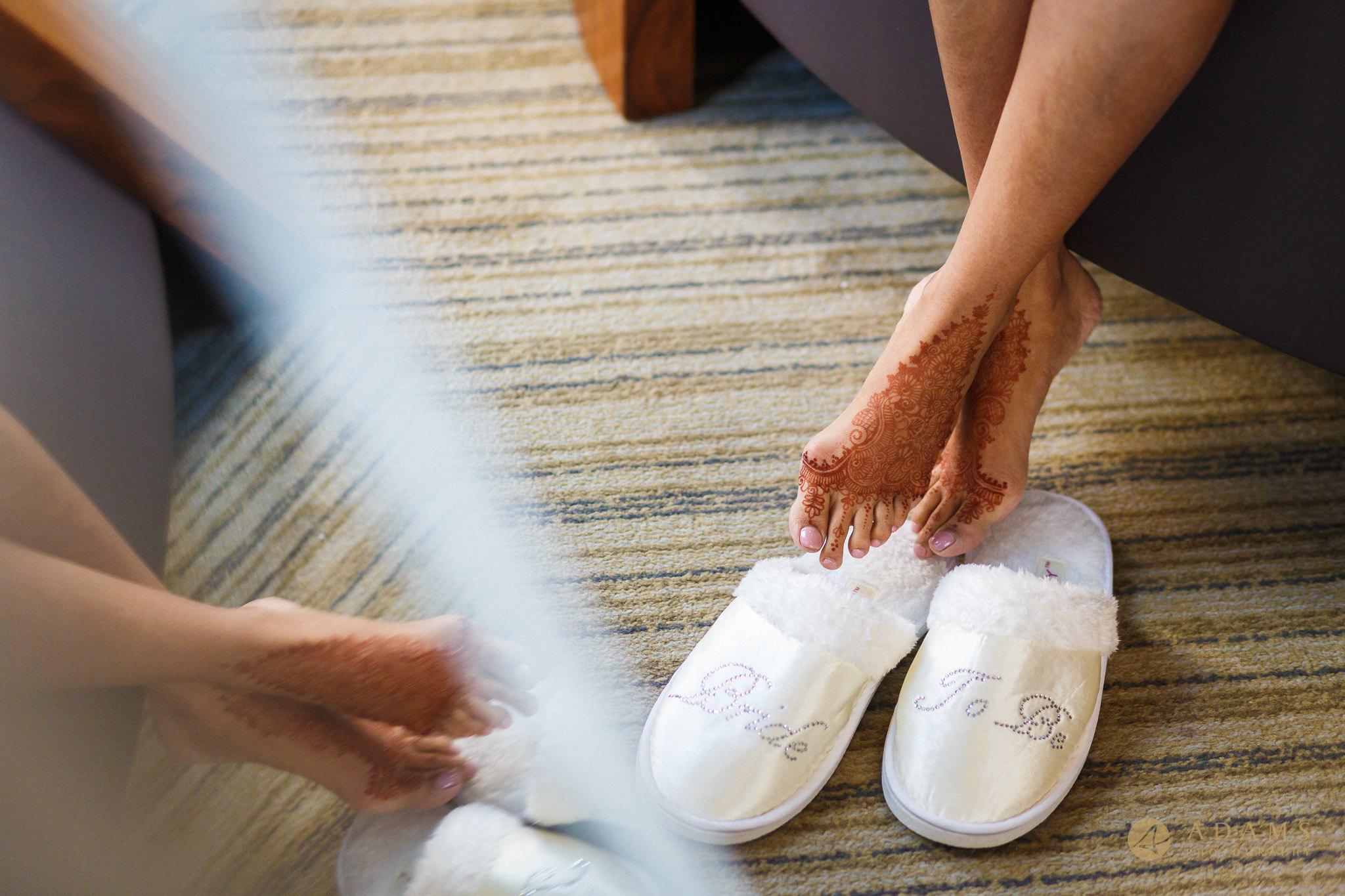 mirror reflection of brides legs