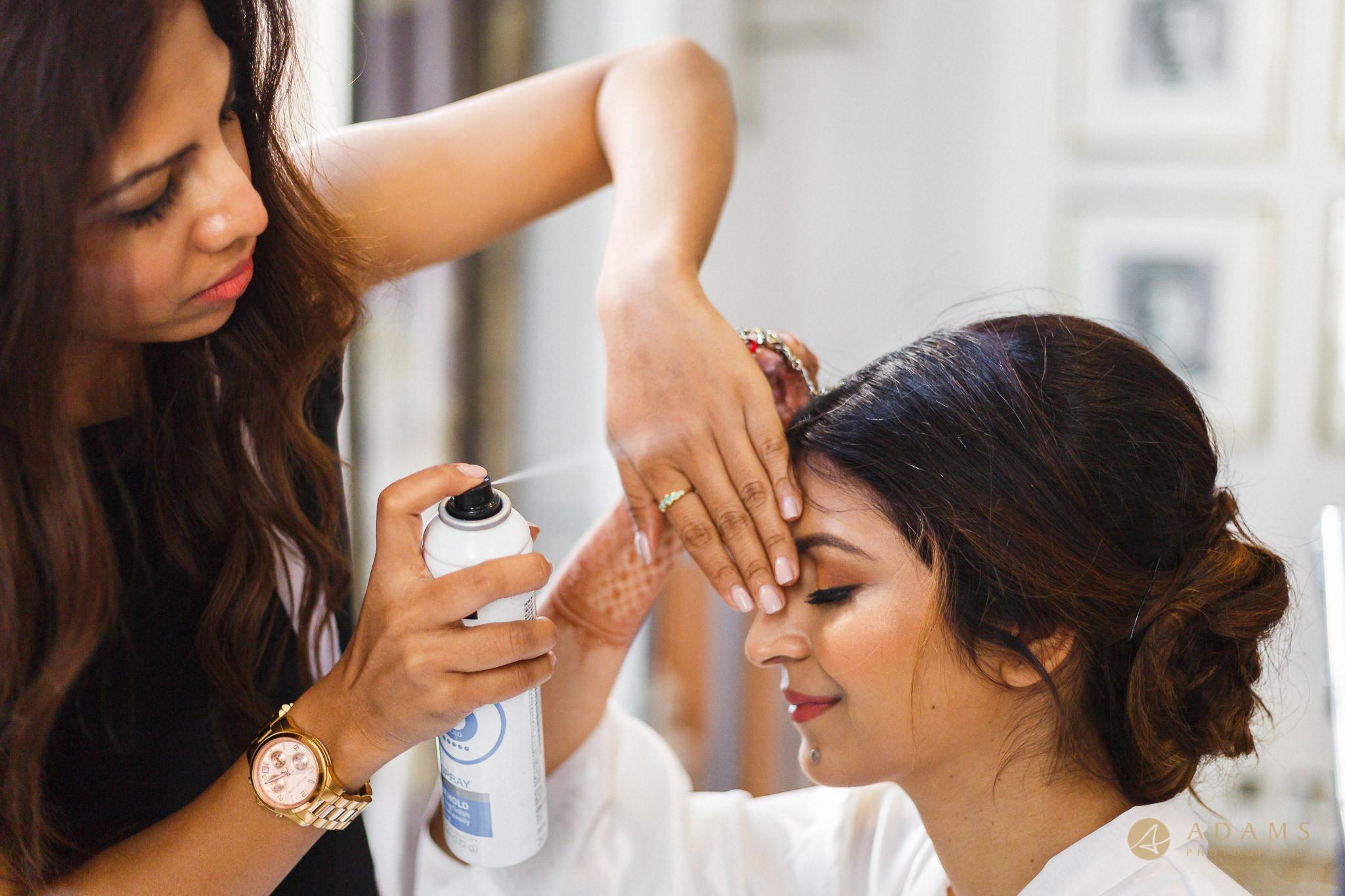 hair spray on bride