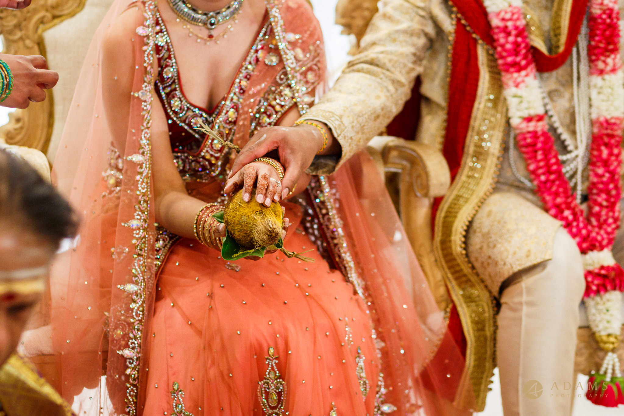 Bridal holding a coconut