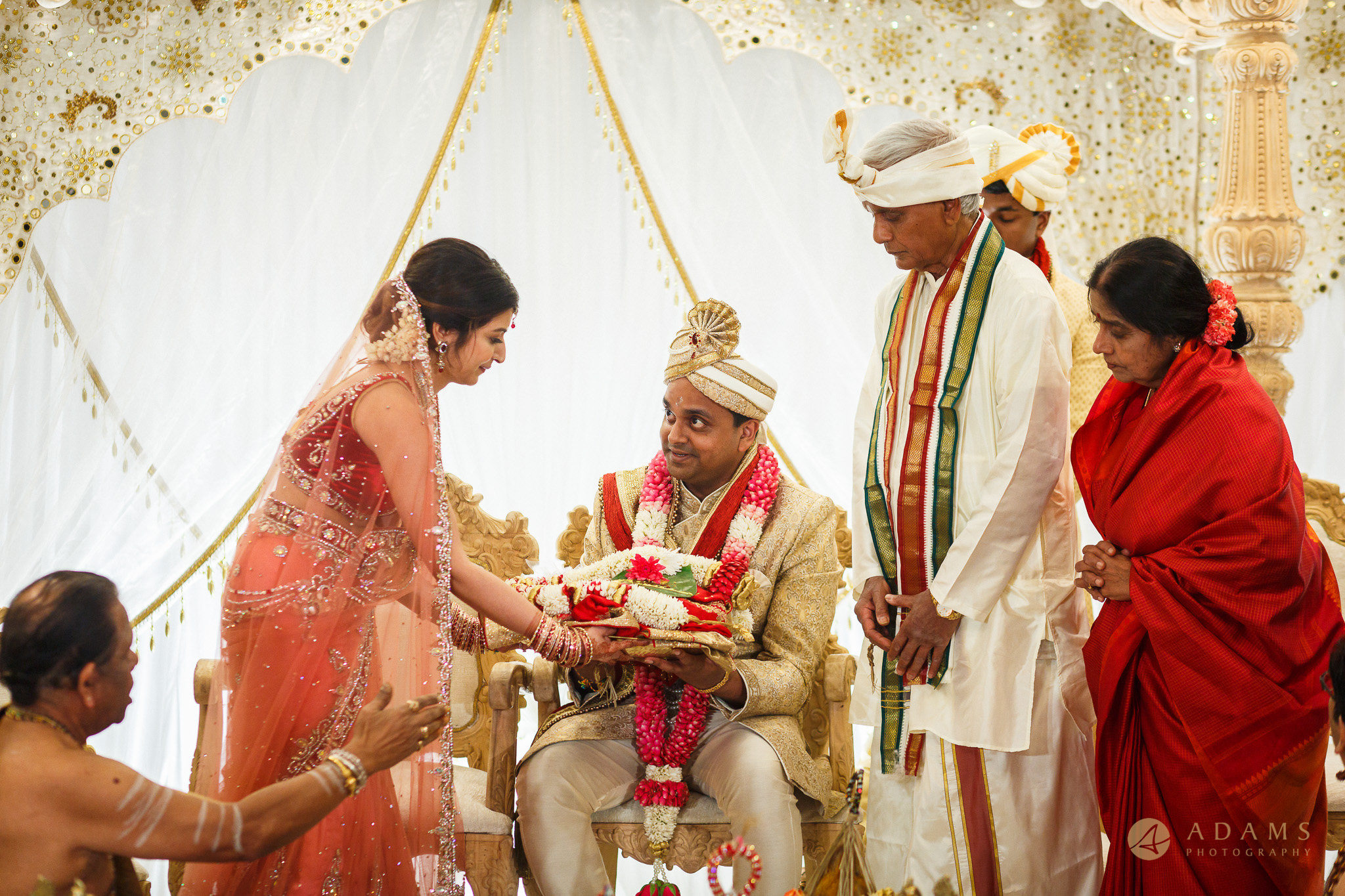 Bride gives present to the groom