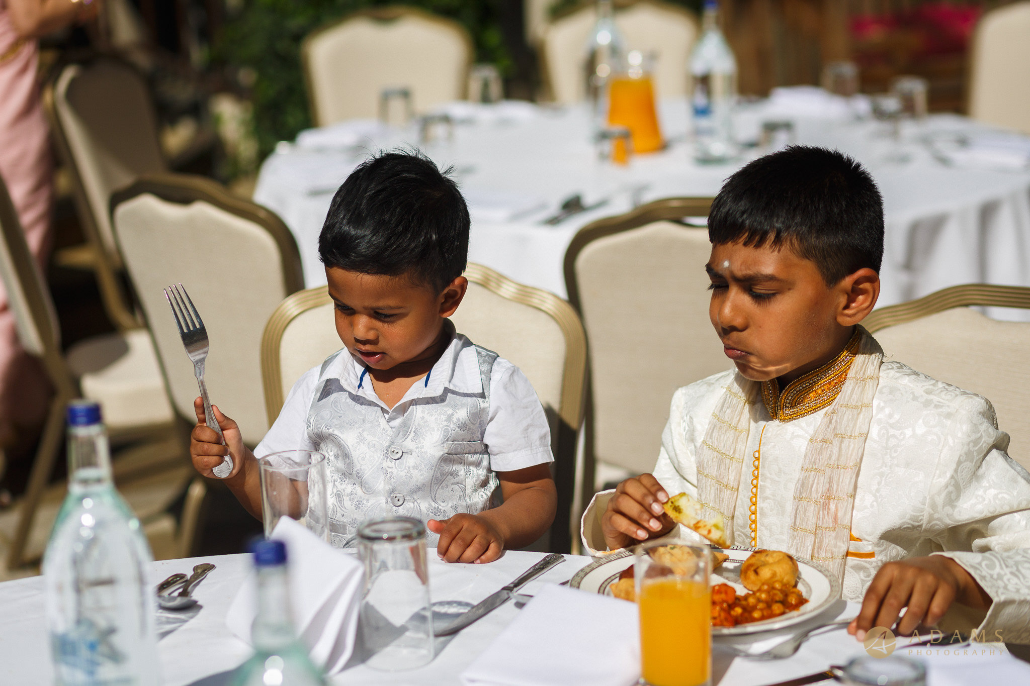 kids at the table in Langham Hotel