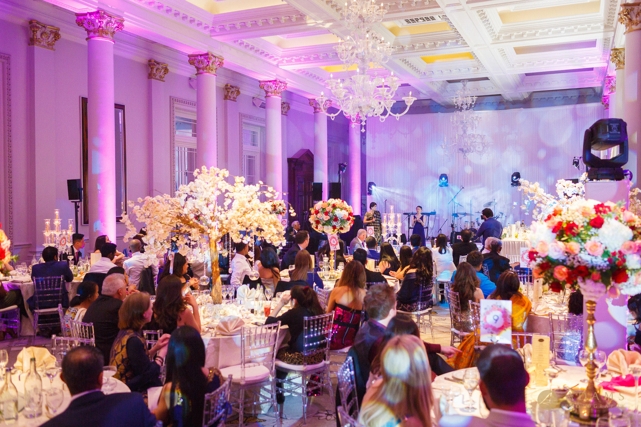 reception room at the Langham Hotel Wedding