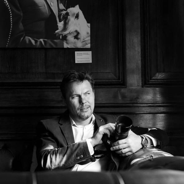 Cambridge Wedding Videographer black and white portrait of Adam