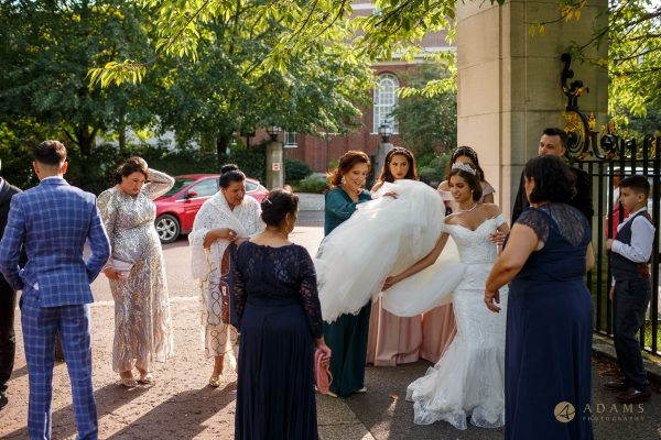 Newly Weds and the family walking