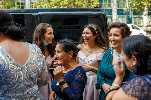 Family getting off the limo at Old-Marylebone Town Hall