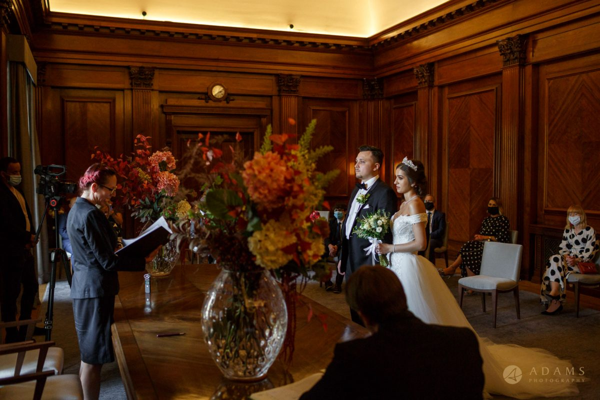 Bride and Groom getting married at Westminster room