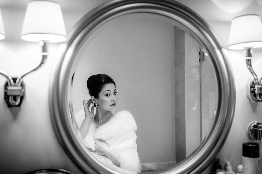 bridal portrait at her wedidng in Savoy hotel in London