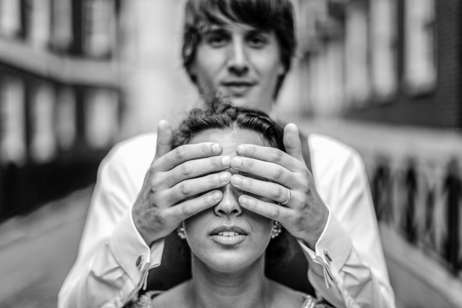 Brie and groom photo portrait at the Middle temple in London wedding