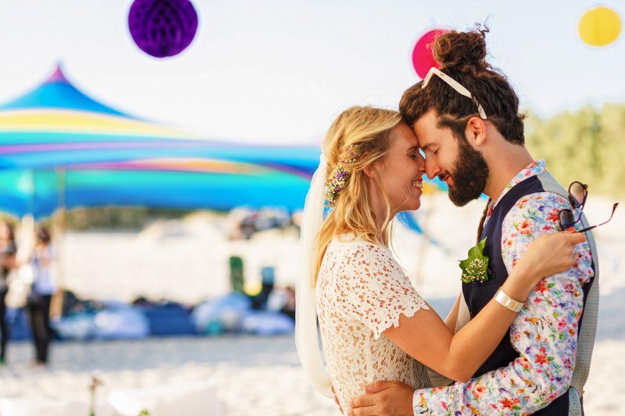 bride and groom looking in their eyes