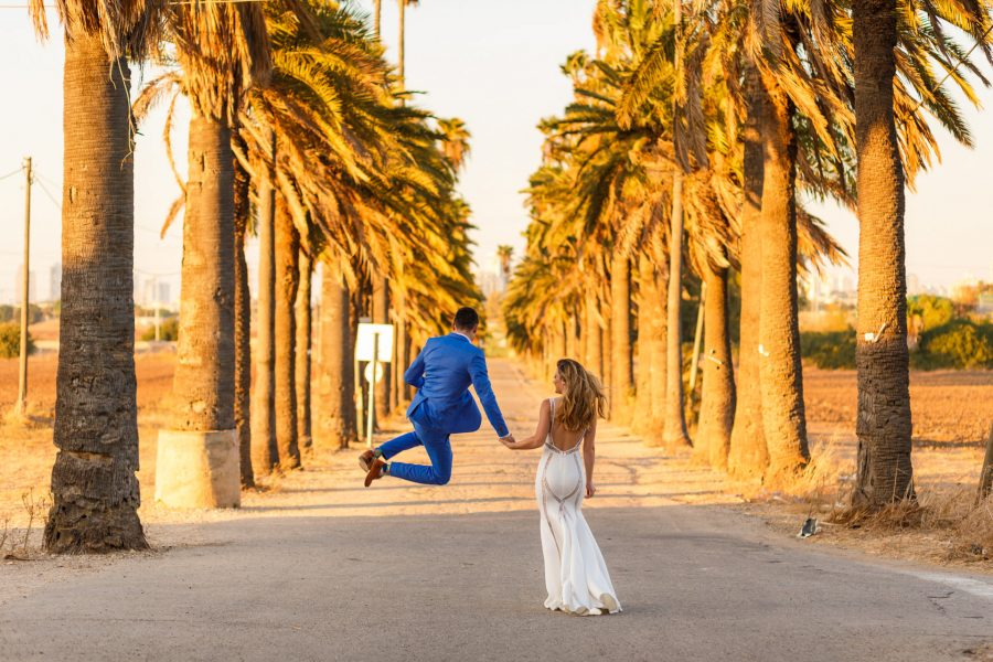 Married couple walking away